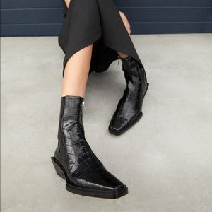 Zara Black Animal Print Cowboy Ankle Boots